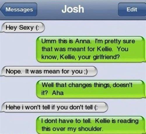 Girlfriend cheating text messages